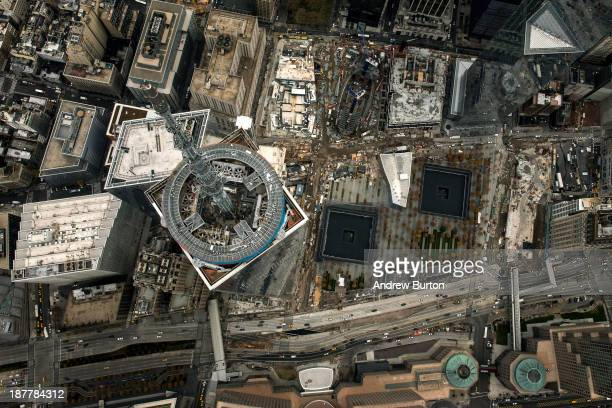 One World Trade Center seen from a helicopter looking directly down on the building is seen on November 12 2013 in New York City The building was...