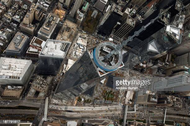 One World Trade Center seen from a helicopter looking directly down on the building on November 12 2013 in New York City The building was deemed the...