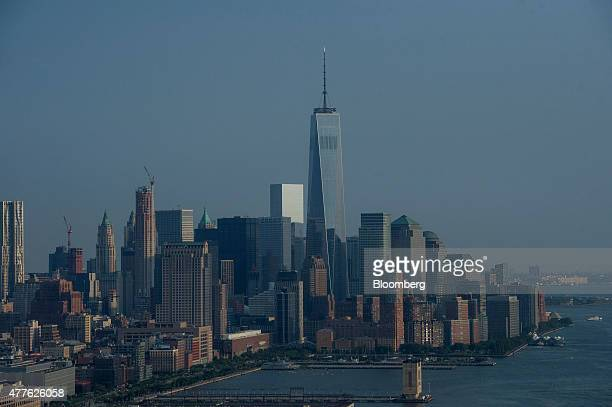 One World Trade Center stands in the Manhattan skyline in this aerial photograph taken above New York US on Wednesday June 10 2015 US stocks rallied...