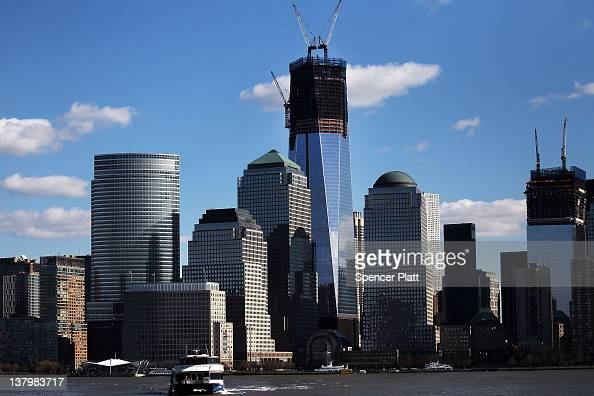 One World Trade Center the central skyscraper at Ground Zero stands under construction on January 30 2012 in New York City The price tag for One...