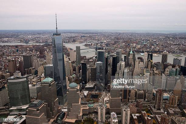 One World Trade Center towers over lower Manhattan on November 12 2013 in New York City The building was deemed the tallest building in North America...