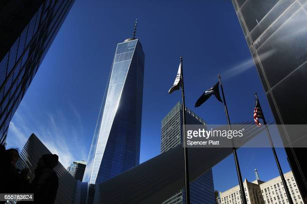 One World Trade stands at ground zero in Manhattan on March 20 2017 in New York City Senate Minority Leader Chuck Schumer has been voicing criticism...