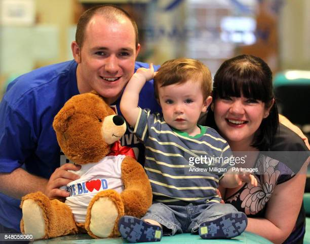 One year old baby Alex Moffat from Irvine with mum Katrina Darroch and dad Daryll Moffat launch Blood Donor Week 2012 on behalf of the Scottish...