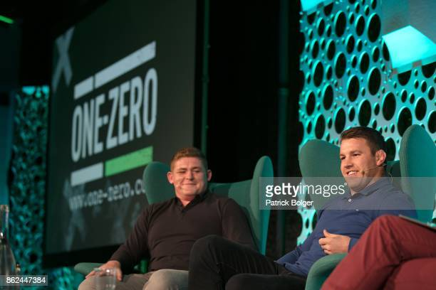 One Zero 2017 speakers Tadgh Furlong and Sean O'Brien on stage at Croke Park on October 17 2017 in Dublin Ireland