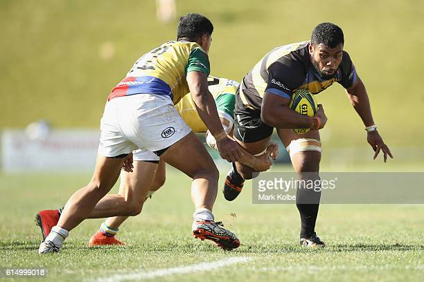 Onehunga Havili of the Spirit is tackled during the NRC Semi Final match between the Sydney Rays and Perth Spirit at Pittwater Park on October 16...