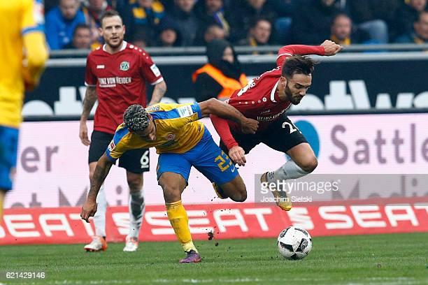 Onel Hernandez of Braunschweig challenges Kenan Karaman of Hannover during the Second Bundesliga match between Eintracht Braunschweig and Hannover 96...