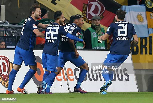 Onel Hernandez of Braunschweig jubilates with team mates after scoring the first goal during the Second Bundesliga match between SG Dynamo Dresden...