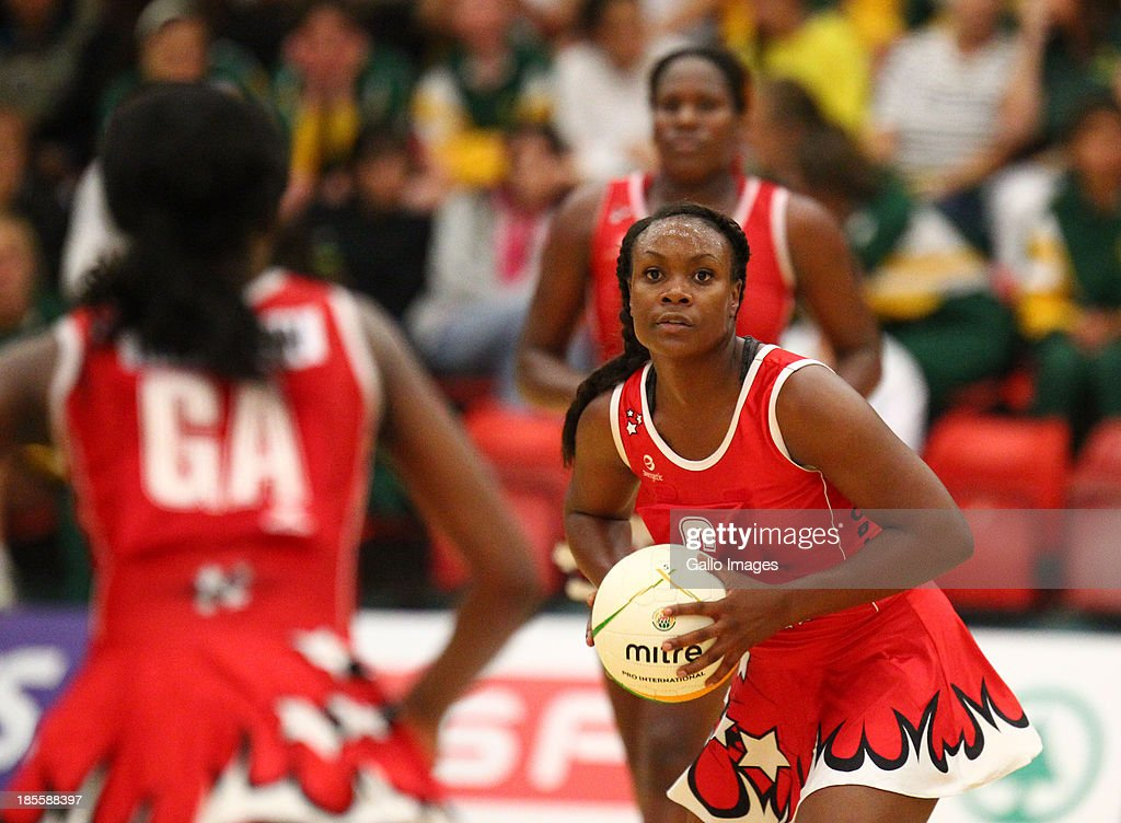 Onella Jack of Trinidad and Tobago in action during the International Tri Nations match between South Africa and Trinidad and Tobago at Vodacom NMMU Indoor Stadium on October 22, 2013 in Port Elizabeth, South Africa.