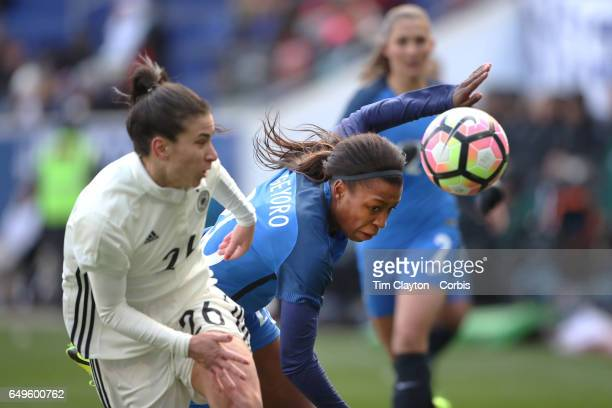 Onema Grace Geyoro of France challenged by Hasret Kayikci of Germany during the France Vs Germany SheBelieves Cup International match at Red Bull...