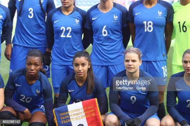 Onema Grace Geyoro Sakina Karchaoui and Eugénie Le Sommer of France during the team photograph before the France Vs Germany SheBelieves Cup...