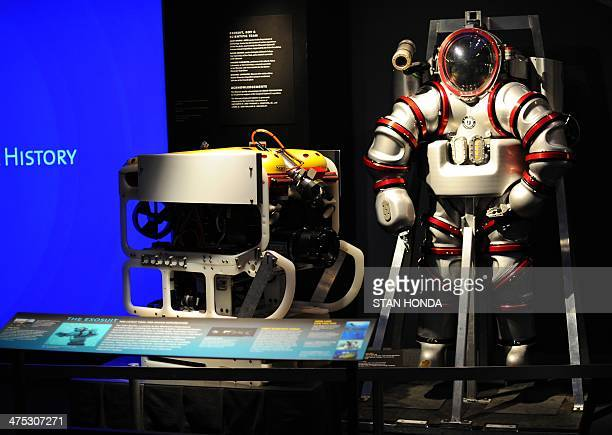 A oneofakind Exosuit a nextgeneration atmospheric diving system capable of taking a diver down 1000 feet at surface pressure on temporary display at...