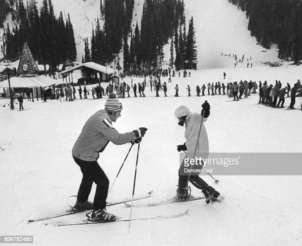 OneOnOne Instruction Key Feature Of Ski School Doug Cameron instructor at the Denver Post Gart Bross Willy Schaeffler Ski School illustrate...
