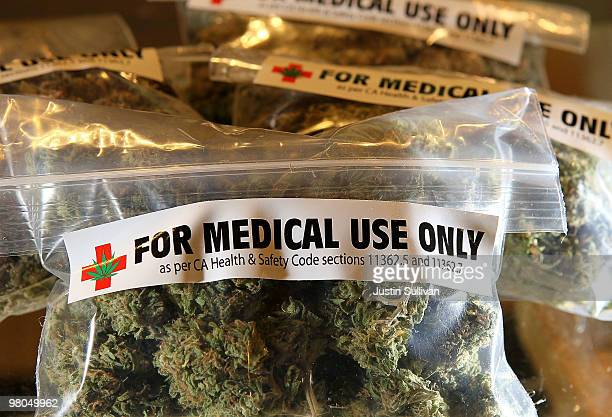 Oneounce bags of medicinal marijuana are displayed at the Berkeley Patients Group March 25 2010 in Berkeley California California Secretary of State...