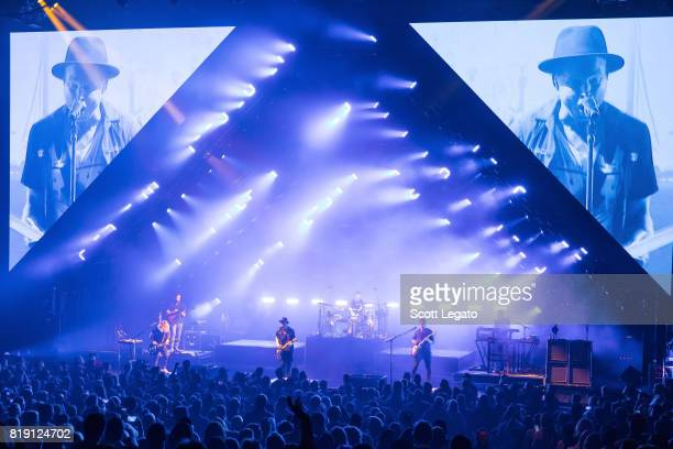 OneRepublic perform during the Honda Civic Tour at DTE Energy Music Theater on July 19 2017 in Clarkston Michigan