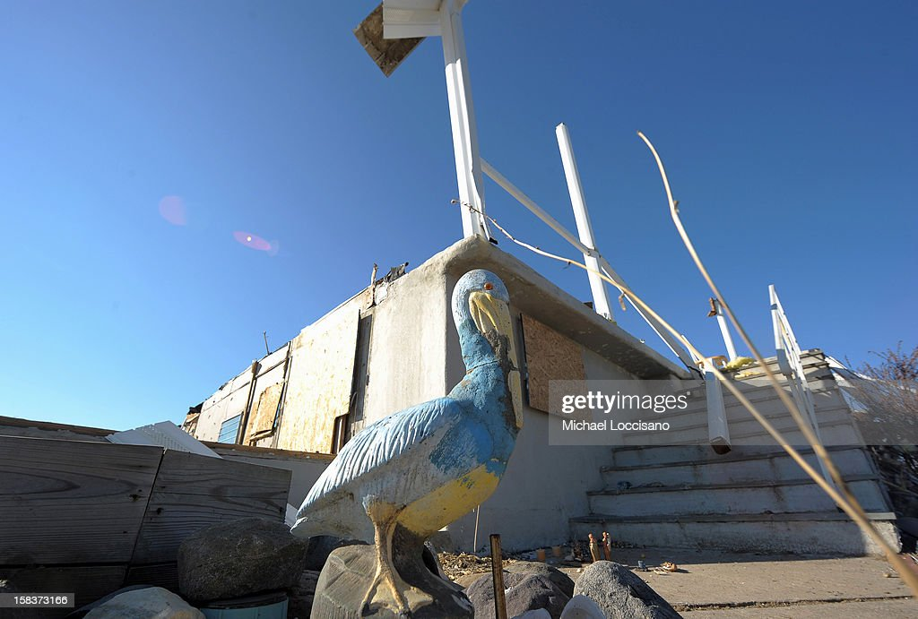 A onetime residence is now a vacant lot of wreckage on December 14, 2012 in Union Beach, New Jersey. The town is struggling to rebuild and recover from the devastation left by Superstorm Sandy and relying heavily on donations.