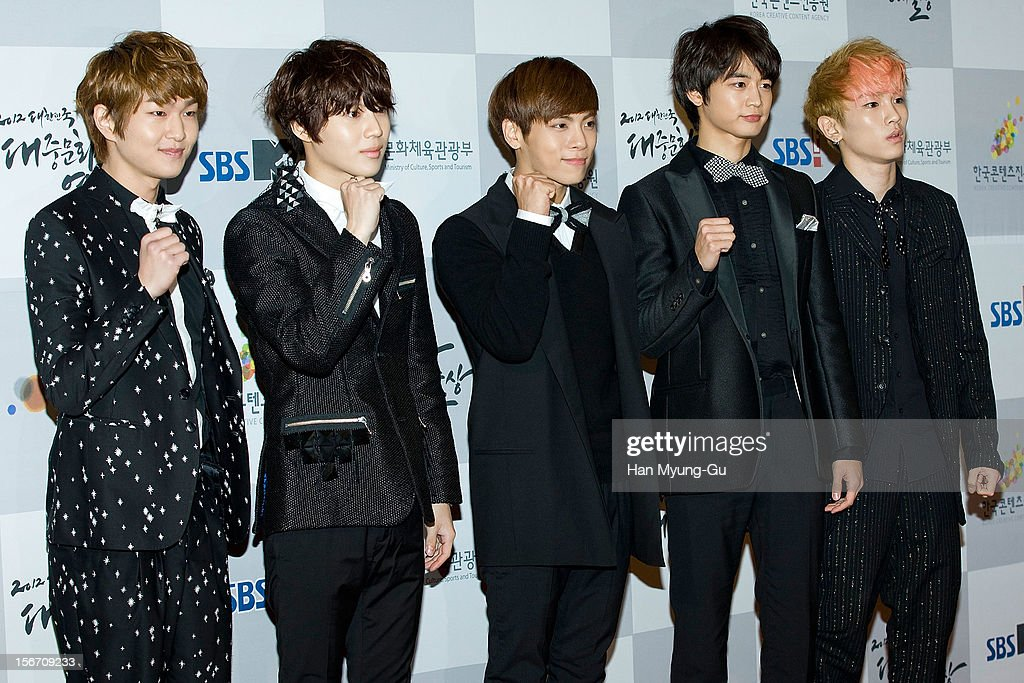 Onew, Taemin, Jonghyun, Minho and Key of South Korean boy band SHINee attend during the 2012 Korea Popular Culture Art Awards at Olympic Hall on November 19, 2012 in Seoul, South Korea.