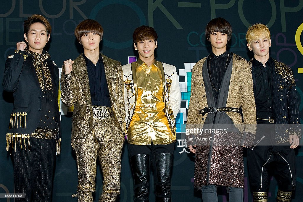 Onew, Taemin, Jonghyun, Minho and <a gi-track='captionPersonalityLinkClicked' href=/galleries/search?phrase=Key+-+Koreaans+zanger&family=editorial&specificpeople=12538635 ng-click='$event.stopPropagation()'>Key</a> of South Korean boy band SHINee arrive at the 2012 SBS Korea Pop Music Festival named 'The Color Of K-Pop' at Korea University on December 29, 2012 in Seoul, South Korea.