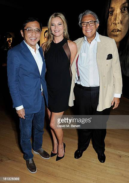Ong Beng Seng Kate Moss and Sir David Tang attend a private view of 'Kate Moss The Collection' at Christie's King Street on September 20 2013 in...