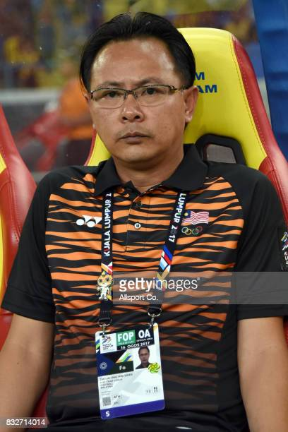 Ong Kim Swee coach of Malaysia during the Men Fooball Group A preliminary compettion between Singapore and Malaysia at Shah Alam Stadium as part of...