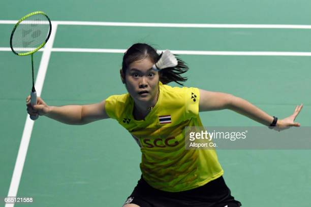 Ongbamrungphan Busanan of Thailand plays a return shot to her compatriot Ratchanok Intanon during the round two of the 2017 World BWF Super Series...