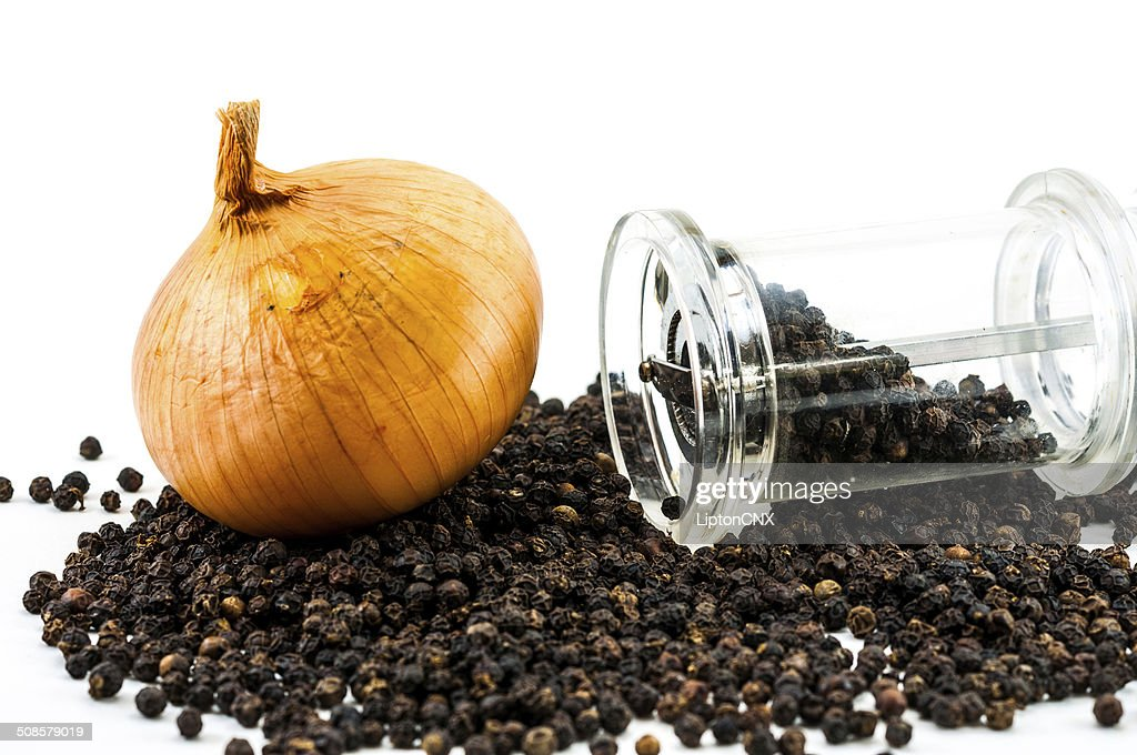 Onion and Pepper Grinder : Stock Photo