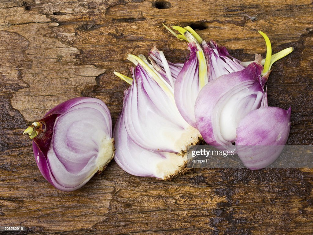 onion bulb and sliced onions on wooden : Stock Photo