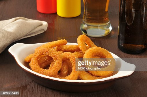 Onion rings and beer : Stock Photo