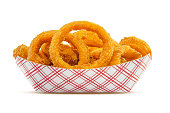 High resolution, digital capture of an order of fresh, crispy onion rings. Onion rings are sitting in a typical disposable fast food style paper basket, set against a pure white background.