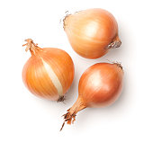 Onions isolated on white background. Top view
