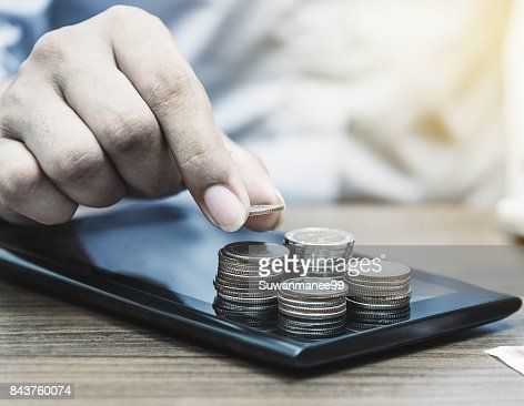 Online banking and internet banking for finance concept : Stock Photo