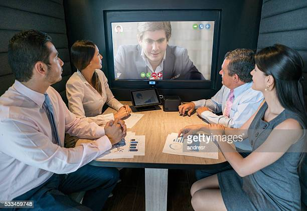 Online business meeting at the office