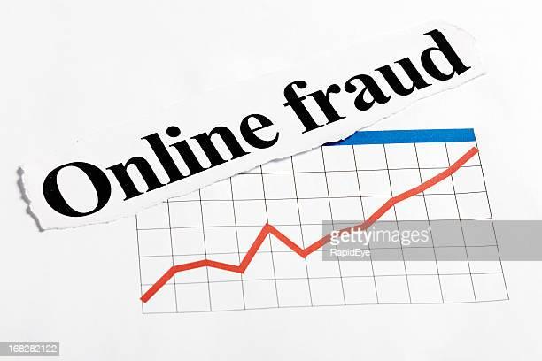 Online-Betrug Überschrift mit wachsender graph auf, die die