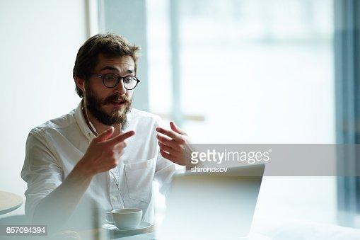 Online interview : Stock Photo