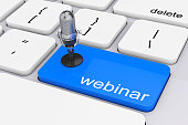 Online Training Concept. Blue Webinar Button with Microphone extreme closeup. 3d Rendering