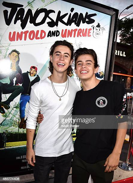 Online video personalities Nash Grier and his brother Hayes Grier arrive at the premiere of Awesomeness TV's 'Janoskians Untold and Untrue' at the...