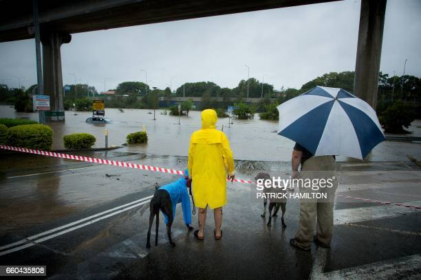 TOPSHOT Onlookers look at submerged cars in a flooded carpark in Toombul in Queensland on March 30 2017 Torrential rain hampered relief efforts after...
