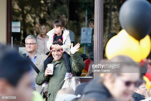 Onlookers watch the 2017 NAIDOC March on July 7 2017 in Melbourne Australia The march was organised to call for a day of mourning and to bring to...
