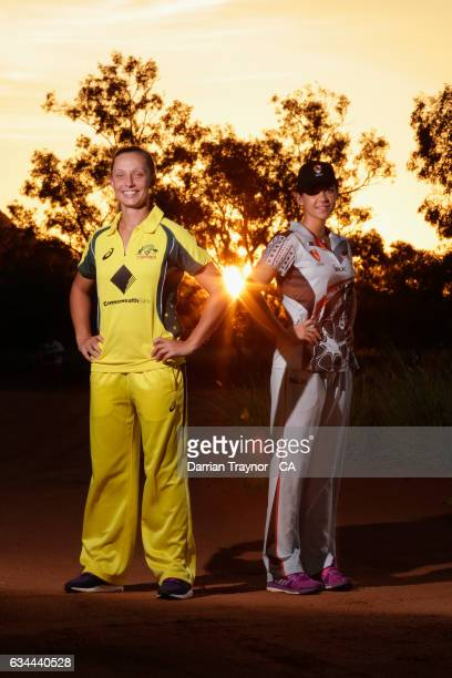 Only the second Indigenous female to play for Australia Ashleigh Gardner poses for a photo with Alice Spring local and Northern Territory player Rita...