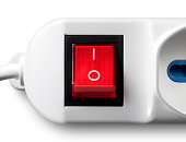 On/off switch red. Multiple outlet socket.