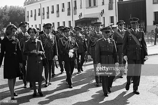 Onomastics of Francisco Franco accompanied by Prince Juan Carlos de Borbon and by Pricess Sofiaand Franco's wife Carmen Polo Madrid Castilla La...