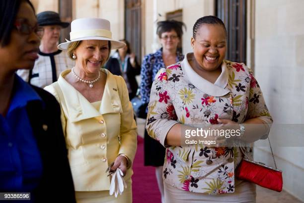 ONompumelelo Ntuli Zuma one of South African President Jacob Zuma's wives accompanies visiting Queen Sonja of Norway during a welcoming ceremony at...