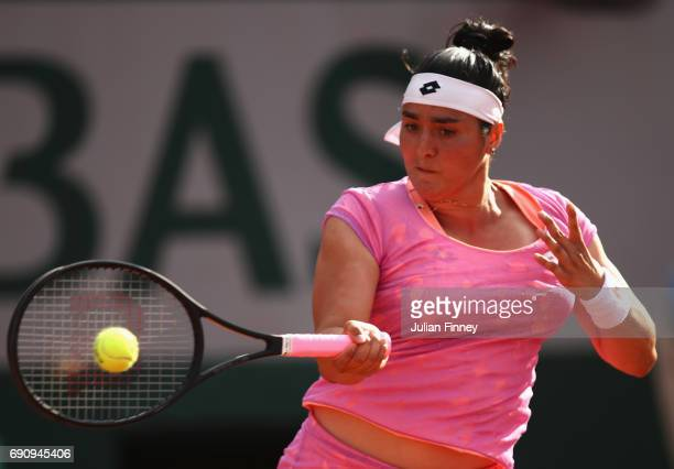 Ons Jabeur of Tunisia plays a forehand during the ladies singles second round match against Dominika Cibulkoba of Slovakia on day four of the 2017...