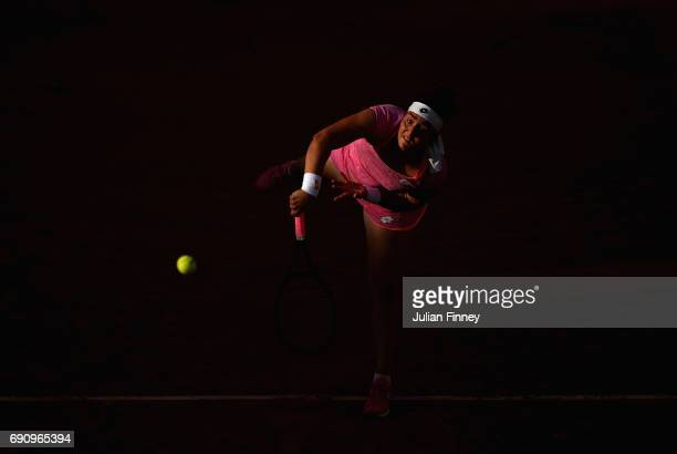 Ons Jabeur of Tunisia serves during the ladies singles second round match against Dominika Cibulkoba of Slovakia on day four of the 2017 French Open...
