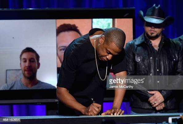 Z onstage at the Tidal launch event #TIDALforALL at Skylight at Moynihan Station on March 30 2015 in New York City