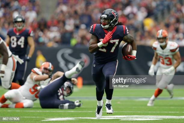 Onta Foreman of the Houston Texans runs the ball in the second quarter against the Cleveland Browns at NRG Stadium on October 15 2017 in Houston Texas