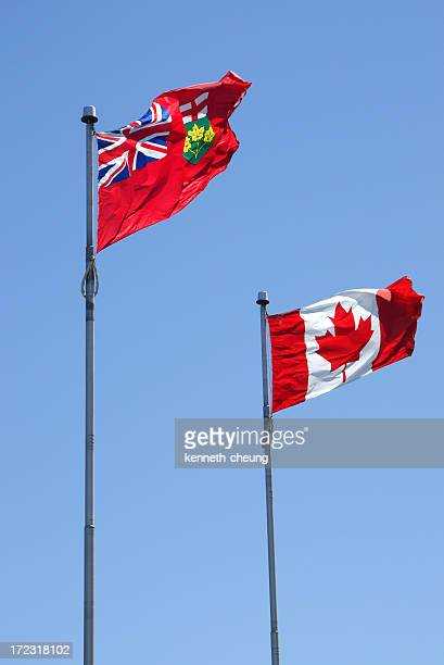 Ontario and Canadian Flags
