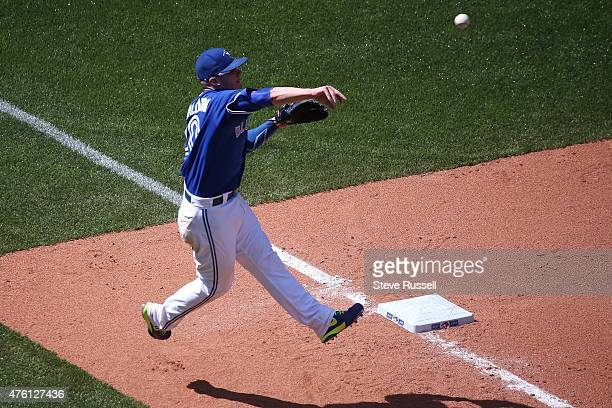 TORONTO Ontario JUNE 6 Josh Donaldson makes a play from third base as the Toronto Blue Jays beat the Houston Astros 72 in an afternoon game at Rogers...