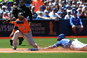 TORONTO Ontario JUNE 6 Toronto Blue Jays shortstop Jose Reyes slides into third with a stolen base as Houston Astros third baseman Luis Valbuena...