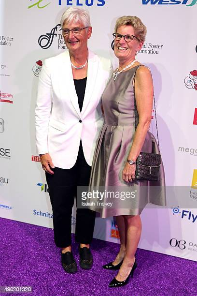 Ontario's Premier Kathleen Wynne and partner Jane Rounthwaite arrive at the David Foster Foundation Miracle Gala And Concert at Mattamy Athletic...
