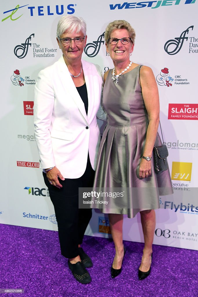 Ontario's Premier <a gi-track='captionPersonalityLinkClicked' href=/galleries/search?phrase=Kathleen+Wynne&family=editorial&specificpeople=10626599 ng-click='$event.stopPropagation()'>Kathleen Wynne</a> (R) and partner Jane Rounthwaite arrive at the David Foster Foundation Miracle Gala And Concert at Mattamy Athletic Centre on September 26, 2015 in Toronto, Canada.